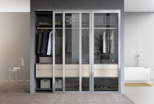 Sleek Wardrobe with Aluminum Doors